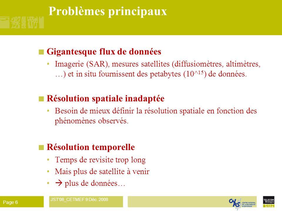 René Garello JST'08_CETMEF 9 Déc. 2008 Page 6 Problèmes principaux Gigantesque flux de données Imagerie (SAR), mesures satellites (diffusiomètres, alt