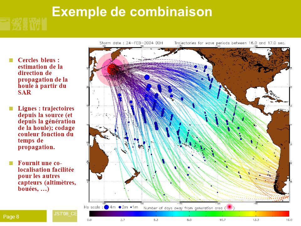 René Garello JST'08_CETMEF 9 Déc. 2008 Page 8 Exemple de combinaison Cercles bleus : estimation de la direction de propagation de la houle à partir du