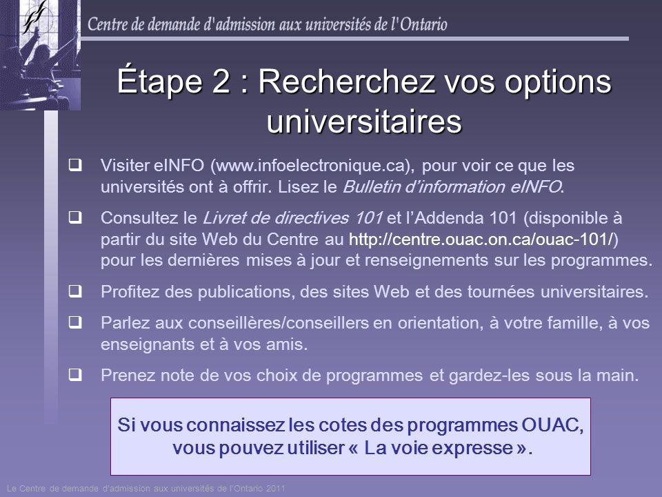 Si vous connaissez les cotes des programmes OUAC, vous pouvez utiliser « La voie expresse ». Visiter eINFO (www.infoelectronique.ca), pour voir ce que