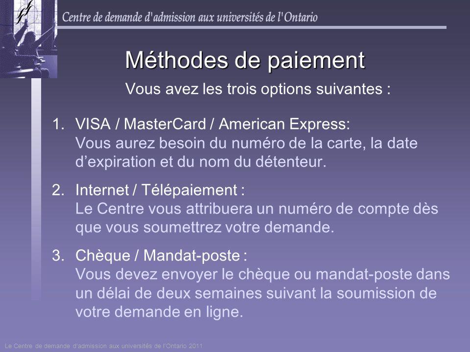 1.VISA / MasterCard / American Express: Vous aurez besoin du numéro de la carte, la date dexpiration et du nom du détenteur. 2.Internet / Télépaiement