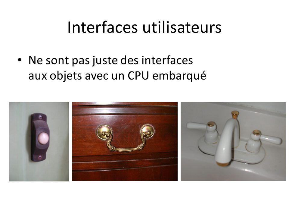 Interfaces utilisateurs Ne sont pas juste des interfaces aux objets avec un CPU embarqué