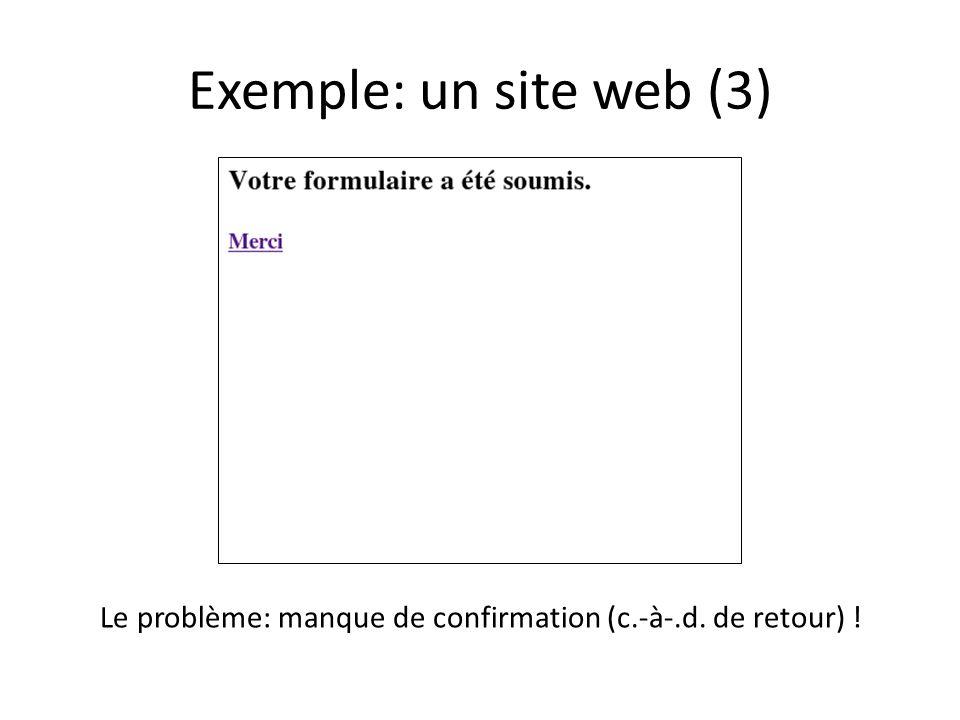 Exemple: un site web (3) Le problème: manque de confirmation (c.-à-.d. de retour) !