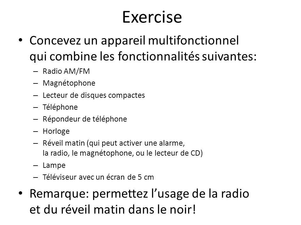 Exercise Concevez un appareil multifonctionnel qui combine les fonctionnalités suivantes: – Radio AM/FM – Magnétophone – Lecteur de disques compactes