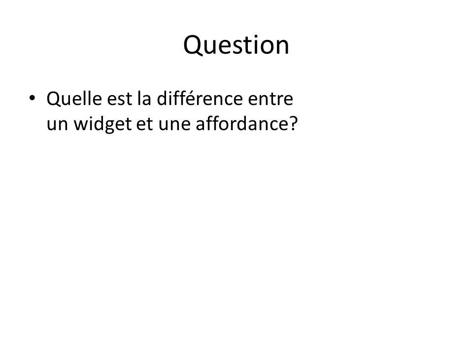 Question Quelle est la différence entre un widget et une affordance?