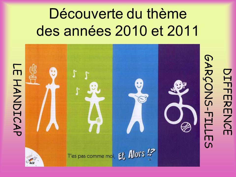 LE HANDICAP DIFFERENCE GAR ÇONS-FILLES Découverte du thème des années 2010 et 2011