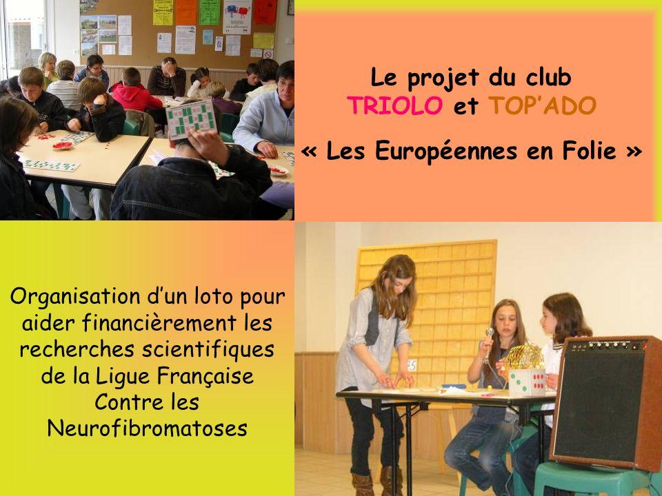 Le projet du club TRIOLO et TOPADO « Les Européennes en Folie » Organisation dun loto pour aider financièrement les recherches scientifiques de la Ligue Française Contre les Neurofibromatoses