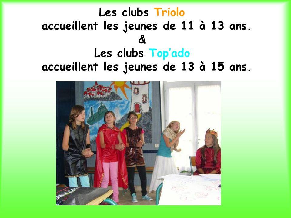 Les clubs Triolo accueillent les jeunes de 11 à 13 ans.