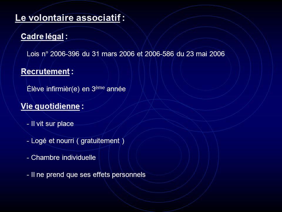 Le volontaire associatif : Cadre légal : Lois n° 2006-396 du 31 mars 2006 et 2006-586 du 23 mai 2006 Recrutement : Élève infirmièr(e) en 3 ème année V