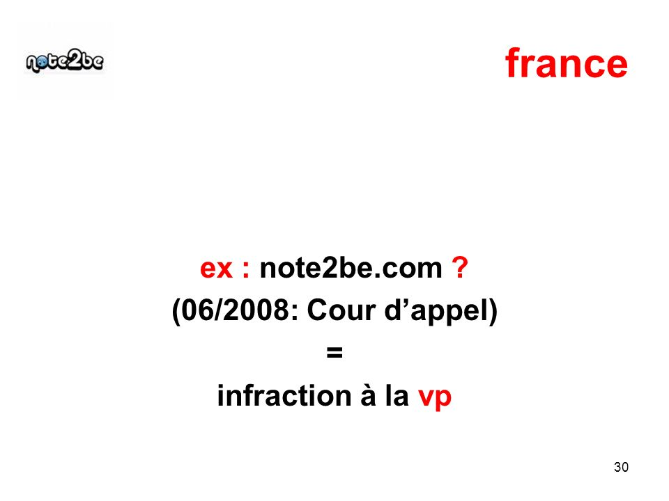 30 france ex : note2be.com (06/2008: Cour dappel) = infraction à la vp