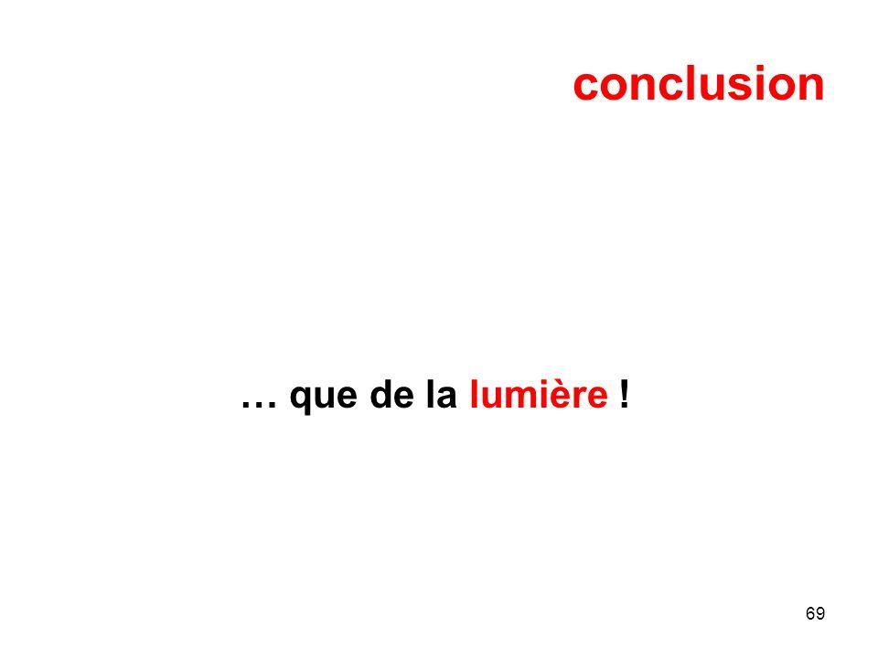 69 conclusion … que de la lumière !