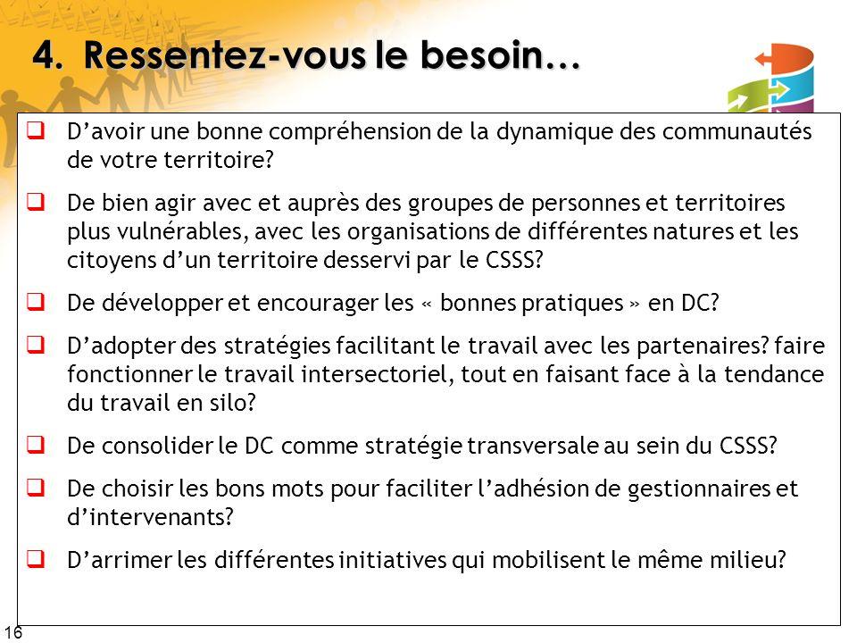 16 4.Ressentez-vous le besoin… Davoir une bonne compréhension de la dynamique des communautés de votre territoire.