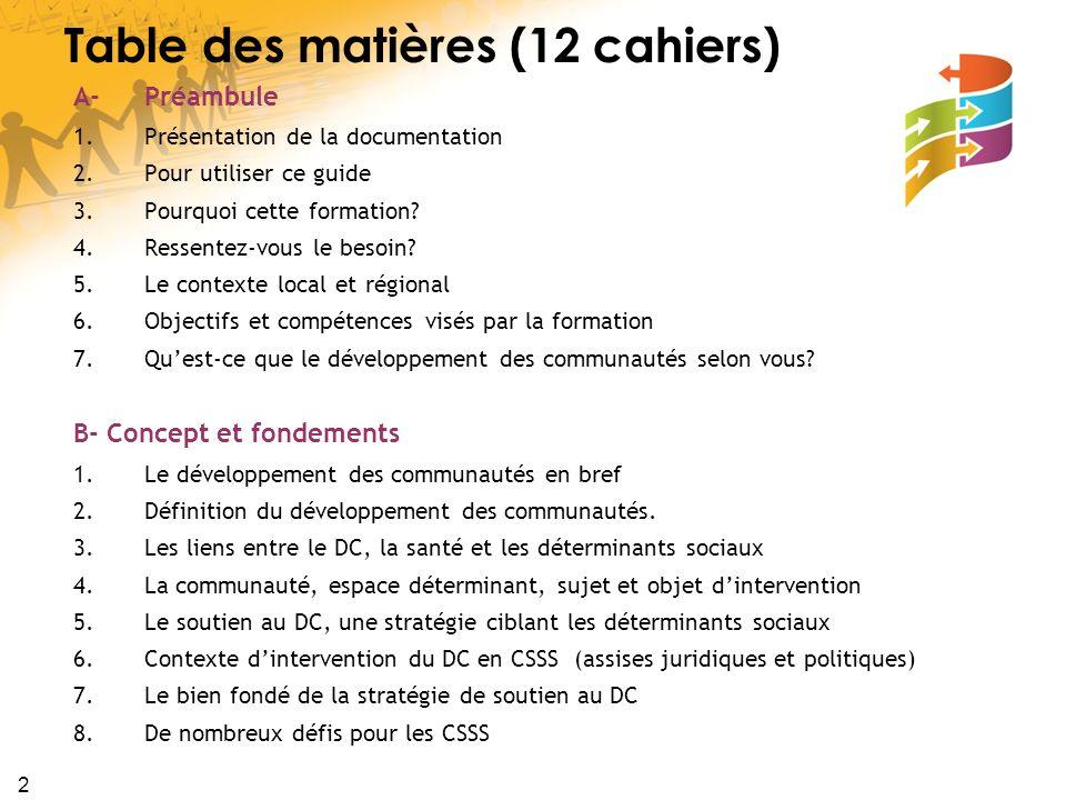 3 C- Bénéfices, défis et enjeux 1.Des bénéfices de la stratégie de soutien au DC 2.Des défis pour les CSSS 3.Quelques difficultés et défis dans le déploiement de ces stratégies D- Survol historique 1.Une tradition lointaine de pratiques en DC 2.La grande mouvance autour de la promotion de la santé 3.La présence de gens tenaces 4.La fin de largument des données probantes 5.Larrivée de nouveaux joueurs et de nouvelles forces E- Processus, opérations, acteurs et modèles 1.Processus /principes daction du DC 2.Les étapes/opérations de la stratégie en DC 3.Les acteurs du développement des communautés 4.Survol de modèles 5.Conciliation des logiques dacteurs