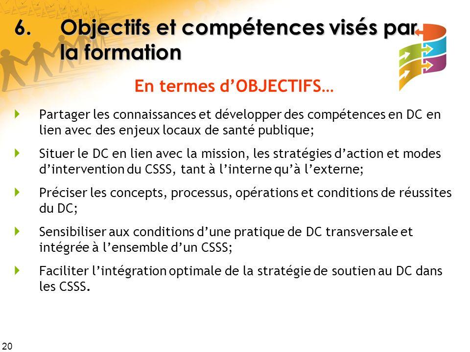 20 6.Objectifs et compétences visés par la formation En termes dOBJECTIFS… Partager les connaissances et développer des compétences en DC en lien avec des enjeux locaux de santé publique; Situer le DC en lien avec la mission, les stratégies daction et modes dintervention du CSSS, tant à linterne quà lexterne; Préciser les concepts, processus, opérations et conditions de réussites du DC; Sensibiliser aux conditions dune pratique de DC transversale et intégrée à lensemble dun CSSS; Faciliter lintégration optimale de la stratégie de soutien au DC dans les CSSS.