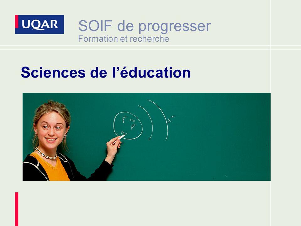 SOIF de progresser Formation et recherche Sciences de léducation