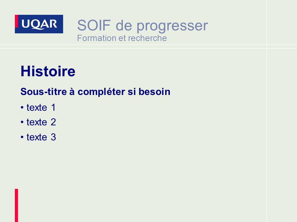 SOIF de progresser Formation et recherche Sous-titre à compléter si besoin texte 1 texte 2 texte 3 Histoire