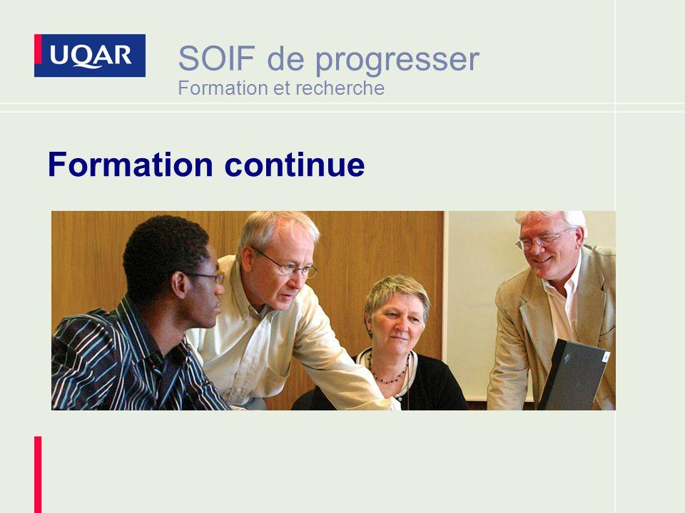 SOIF de progresser Formation et recherche Formation continue