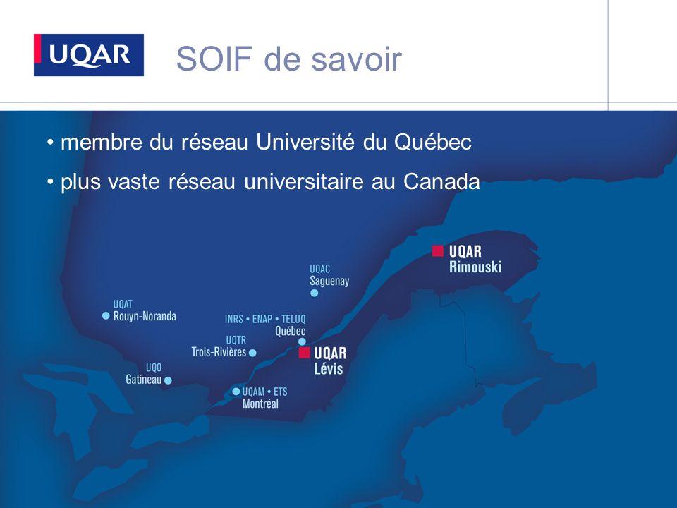 SOIF de savoir membre du réseau Université du Québec plus vaste réseau universitaire au Canada