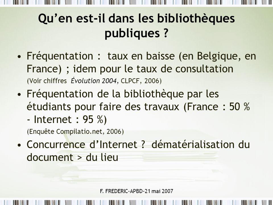 F. FREDERIC-APBD-21 mai 2007 Quen est-il dans les bibliothèques publiques ? Fréquentation : taux en baisse (en Belgique, en France) ; idem pour le tau
