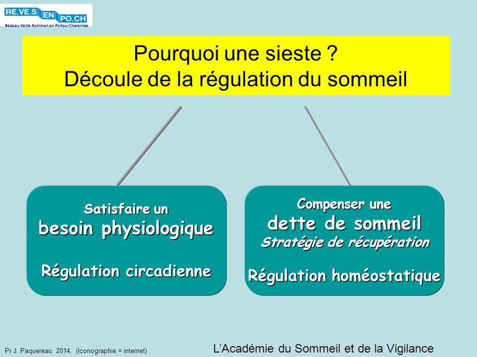 Réseau Veille Sommeil en Poitou-Charentes Pr J. Paquereau, 2014, (Iconographie = internet) Pourquoi une sieste ? Découle de la régulation du sommeil S