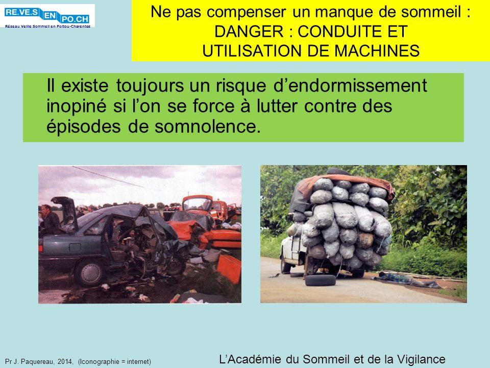 Réseau Veille Sommeil en Poitou-Charentes Pr J. Paquereau, 2014, (Iconographie = internet) Ne pas compenser un manque de sommeil : DANGER : CONDUITE E