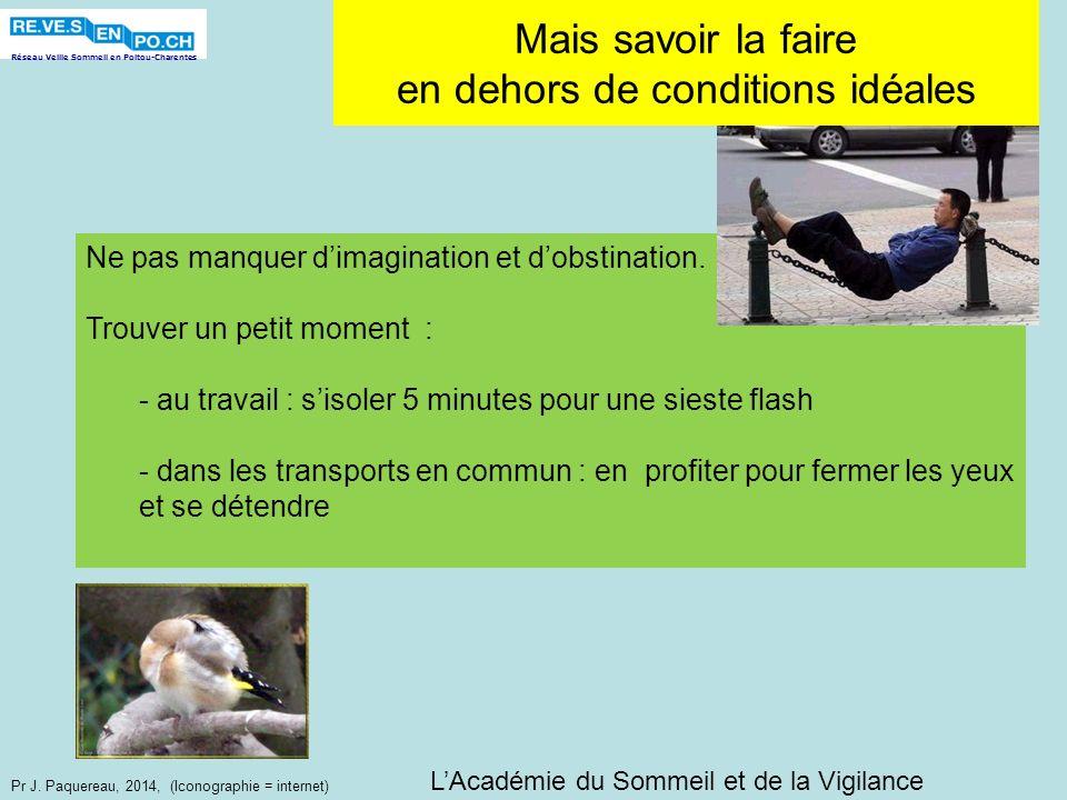 Réseau Veille Sommeil en Poitou-Charentes Pr J. Paquereau, 2014, (Iconographie = internet) Mais savoir la faire en dehors de conditions idéales LAcadé