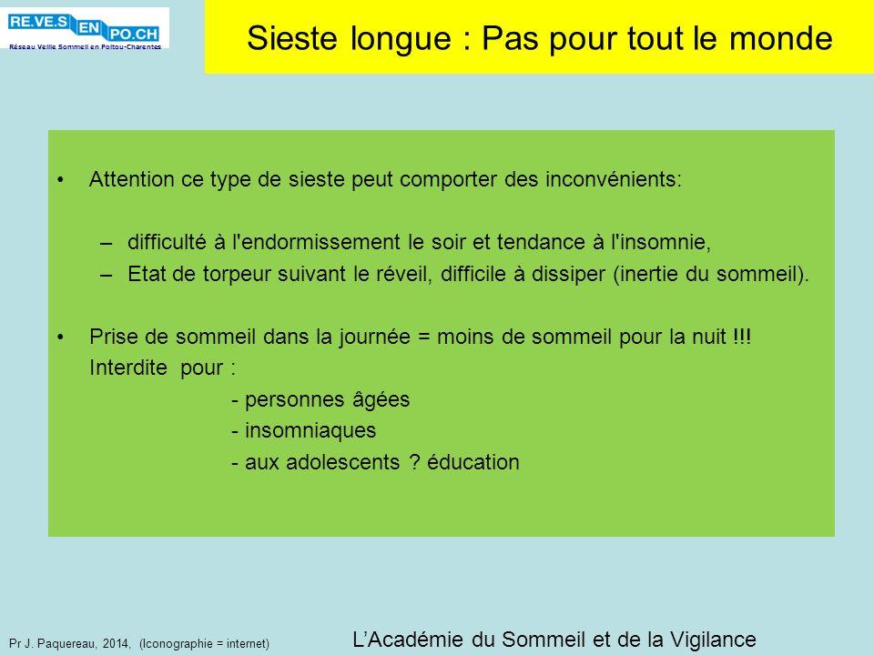 Réseau Veille Sommeil en Poitou-Charentes Pr J. Paquereau, 2014, (Iconographie = internet) Sieste longue : Pas pour tout le monde Attention ce type de