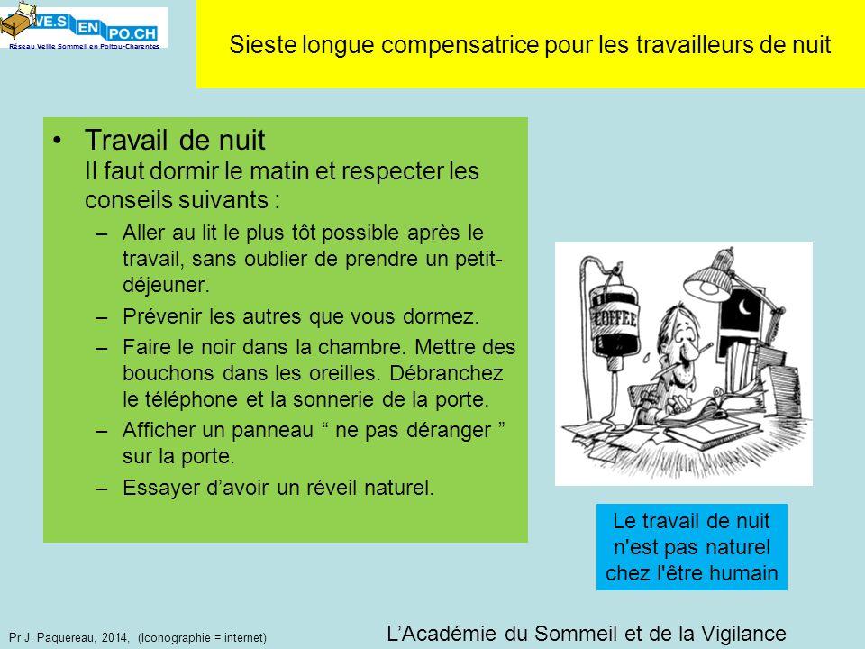 Réseau Veille Sommeil en Poitou-Charentes Pr J. Paquereau, 2014, (Iconographie = internet) Travail de nuit Il faut dormir le matin et respecter les co