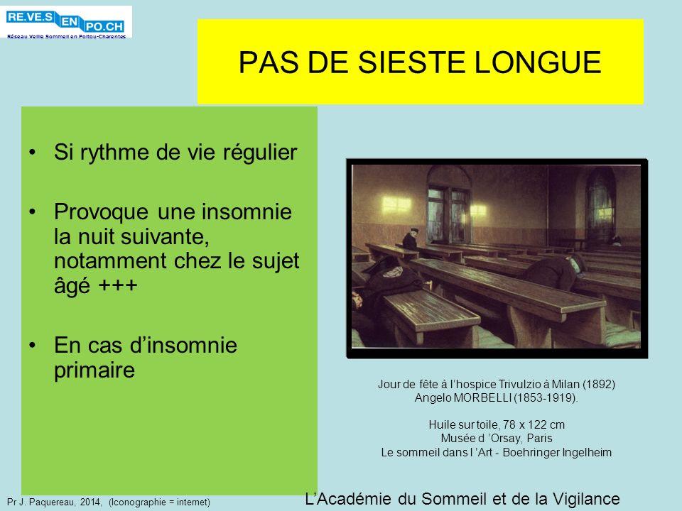 Réseau Veille Sommeil en Poitou-Charentes Pr J. Paquereau, 2014, (Iconographie = internet) PAS DE SIESTE LONGUE Si rythme de vie régulier Provoque une