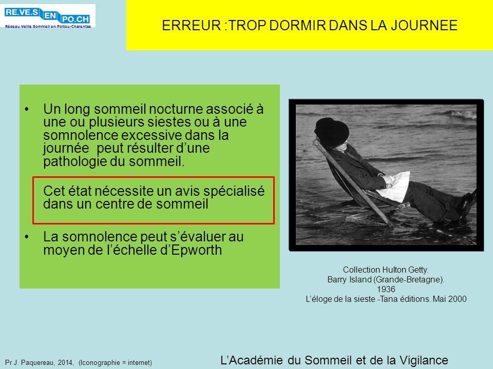Réseau Veille Sommeil en Poitou-Charentes Pr J. Paquereau, 2014, (Iconographie = internet) ERREUR :TROP DORMIR DANS LA JOURNEE Un long sommeil nocturn