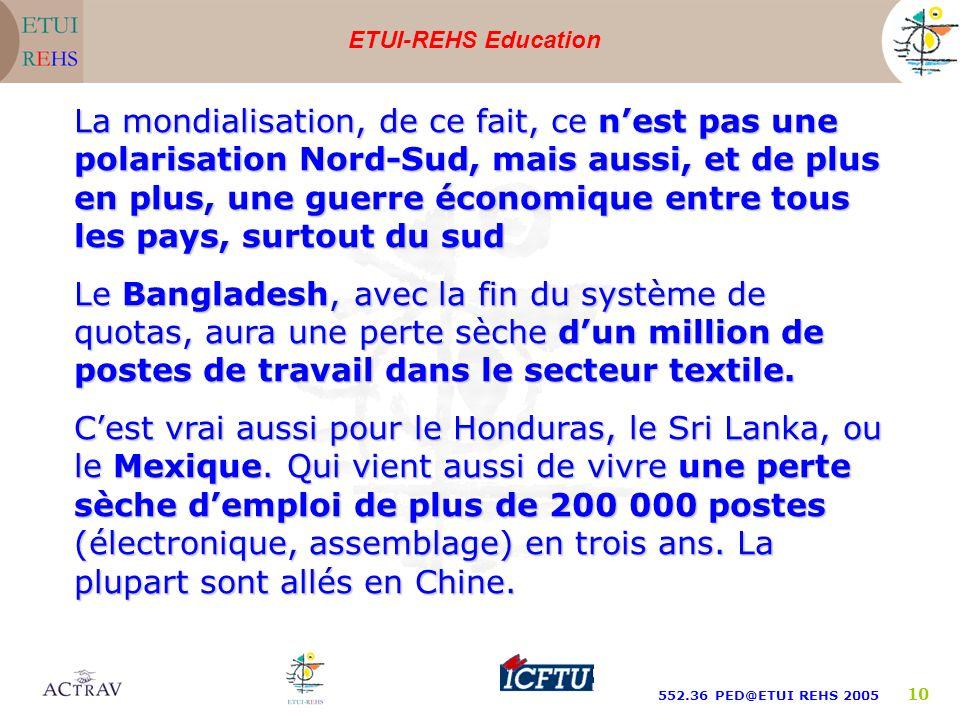 ETUI-REHS Education 552.36 PED@ETUI REHS 2005 10 La mondialisation, de ce fait, ce nest pas une polarisation Nord-Sud, mais aussi, et de plus en plus, une guerre économique entre tous les pays, surtout du sud Le Bangladesh, avec la fin du système de quotas, aura une perte sèche dun million de postes de travail dans le secteur textile.