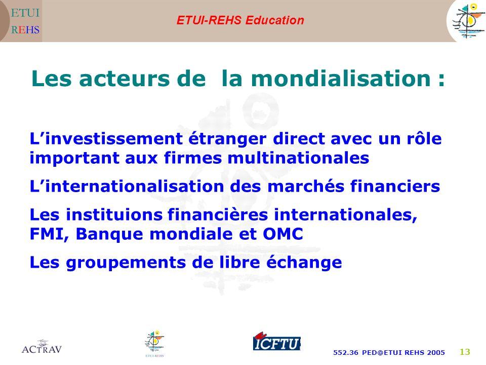 ETUI-REHS Education 552.36 PED@ETUI REHS 2005 13 Les acteurs de la mondialisation : Linvestissement étranger direct avec un rôle important aux firmes multinationales Linternationalisation des marchés financiers Les instituions financières internationales, FMI, Banque mondiale et OMC Les groupements de libre échange