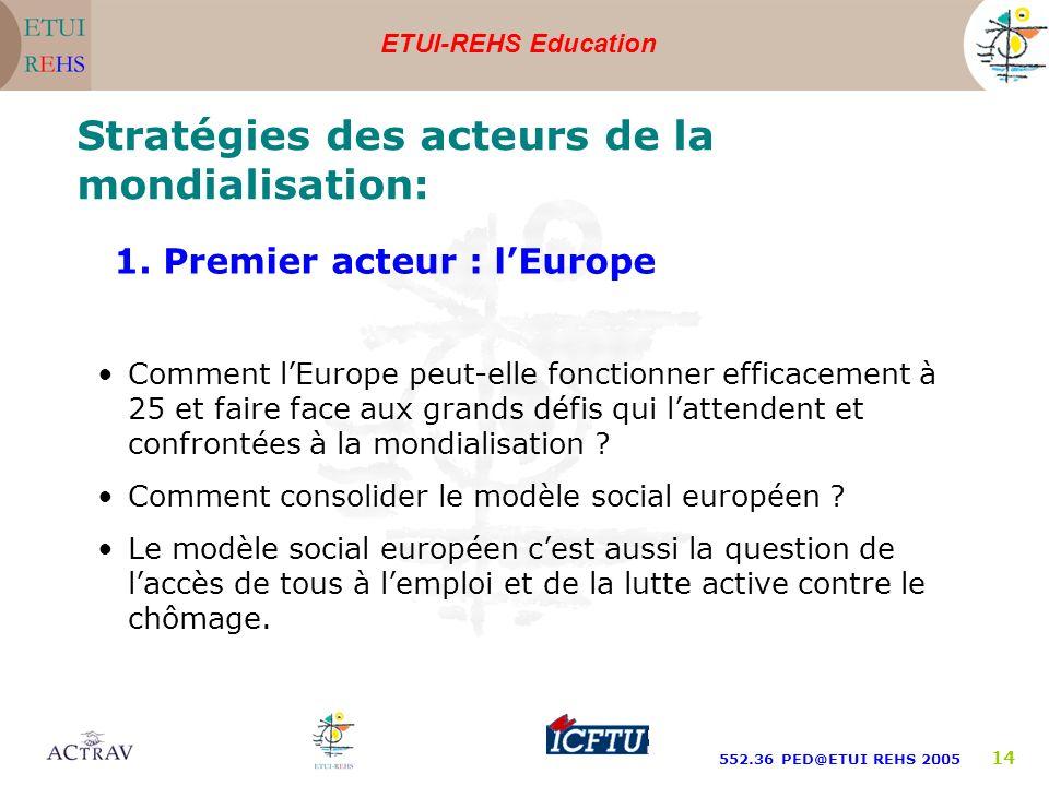 ETUI-REHS Education 552.36 PED@ETUI REHS 2005 14 Stratégies des acteurs de la mondialisation: Comment lEurope peut-elle fonctionner efficacement à 25 et faire face aux grands défis qui lattendent et confrontées à la mondialisation .
