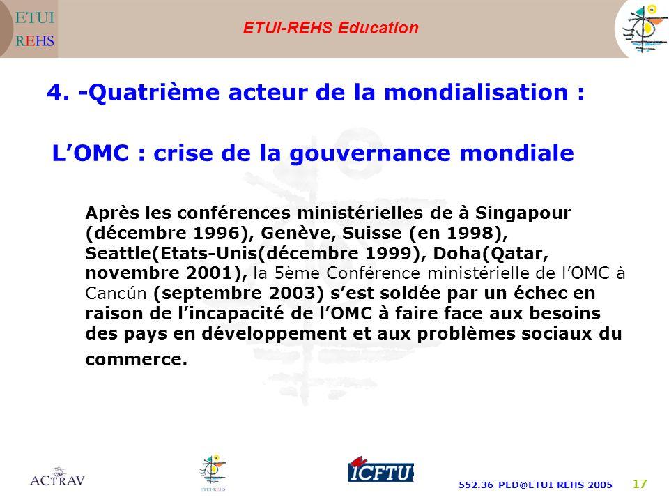 ETUI-REHS Education 552.36 PED@ETUI REHS 2005 17 LOMC : crise de la gouvernance mondiale Après les conférences ministérielles de à Singapour (décembre 1996), Genève, Suisse (en 1998), Seattle(Etats-Unis(décembre 1999), Doha(Qatar, novembre 2001), la 5ème Conférence ministérielle de lOMC à Cancún (septembre 2003) sest soldée par un échec en raison de lincapacité de lOMC à faire face aux besoins des pays en développement et aux problèmes sociaux du commerce.