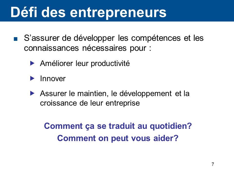 7 Défi des entrepreneurs Sassurer de développer les compétences et les connaissances nécessaires pour : Améliorer leur productivité Innover Assurer le maintien, le développement et la croissance de leur entreprise Comment ça se traduit au quotidien.