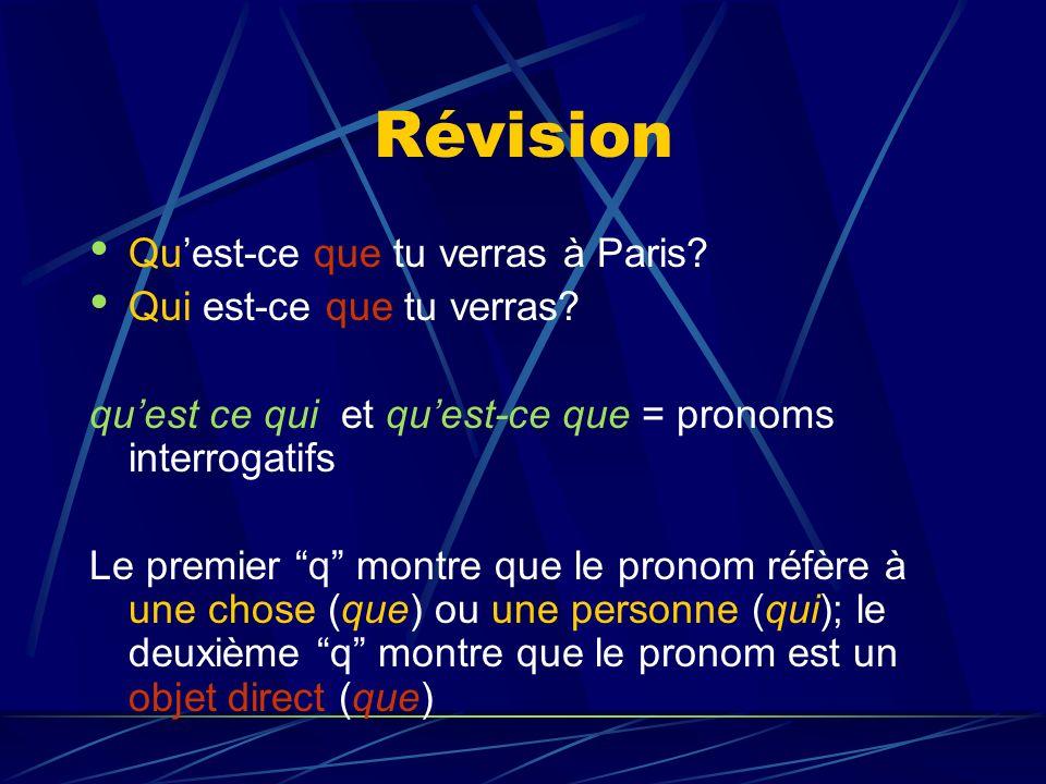 Révision Quest-ce que tu verras à Paris. Qui est-ce que tu verras.
