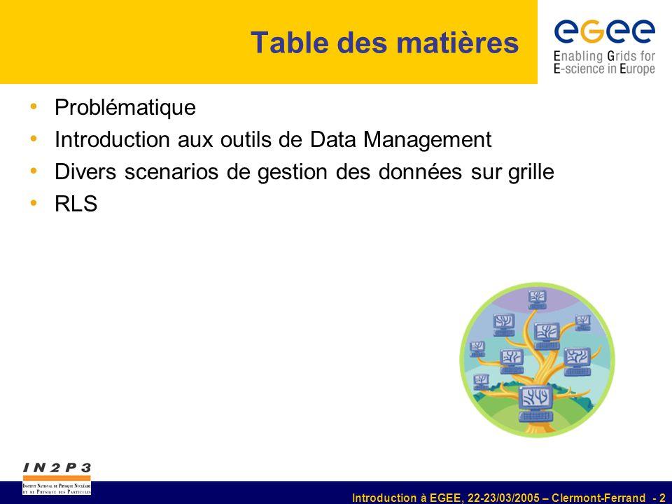 Introduction à EGEE, 22-23/03/2005 – Clermont-Ferrand - 2 Table des matières Problématique Introduction aux outils de Data Management Divers scenarios de gestion des données sur grille RLS