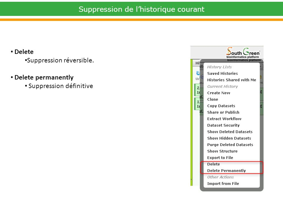Delete Suppression réversible. Delete permanently Suppression définitive Suppression de lhistorique courant