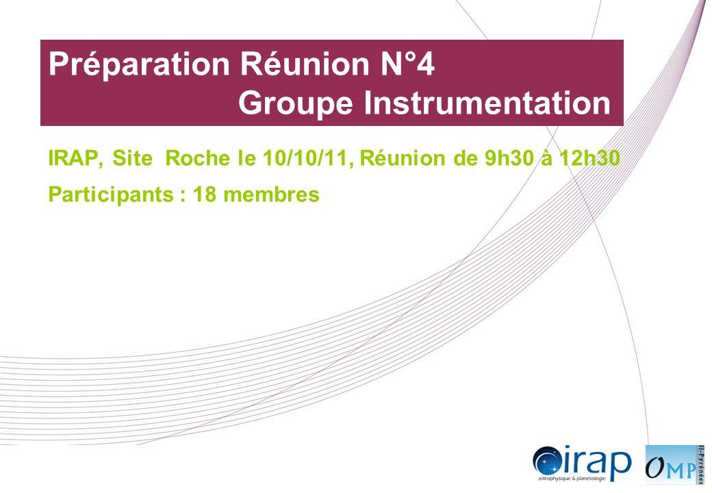 Préparation Réunion N°4 Groupe Instrumentation IRAP, Site Roche le 10/10/11, Réunion de 9h30 à 12h30 Participants : 18 membres