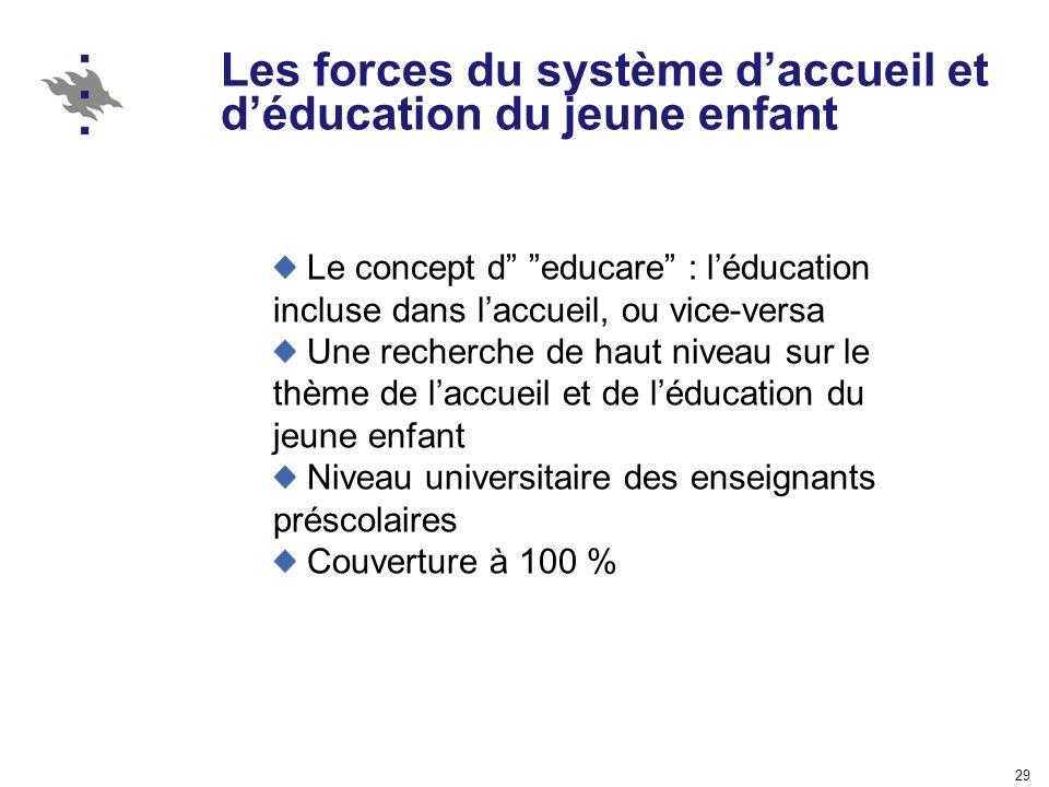 29 Les forces du système daccueil et déducation du jeune enfant Le concept d educare : léducation incluse dans laccueil, ou vice-versa Une recherche d
