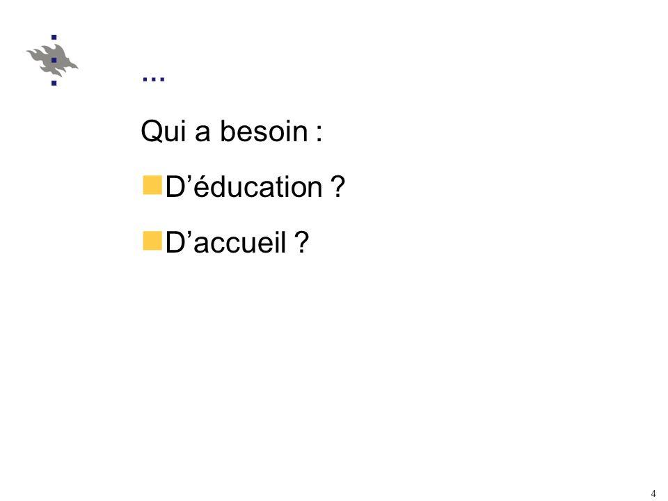 4 … Qui a besoin : Déducation ? Daccueil ?