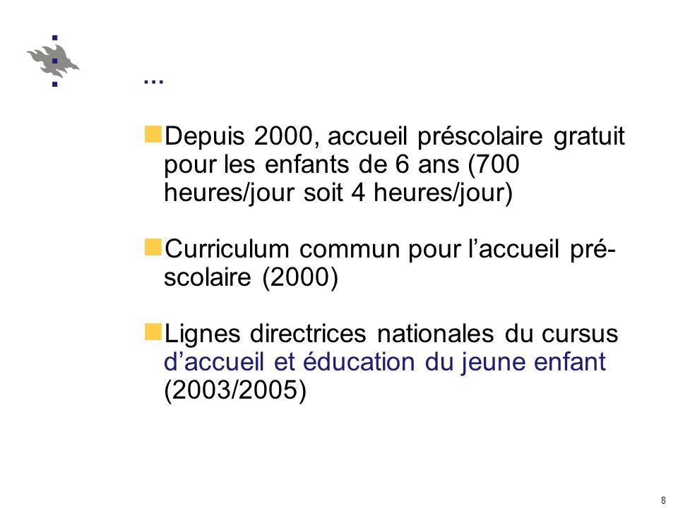 8 … Depuis 2000, accueil préscolaire gratuit pour les enfants de 6 ans (700 heures/jour soit 4 heures/jour) Curriculum commun pour laccueil pré- scolaire (2000) Lignes directrices nationales du cursus daccueil et éducation du jeune enfant (2003/2005)