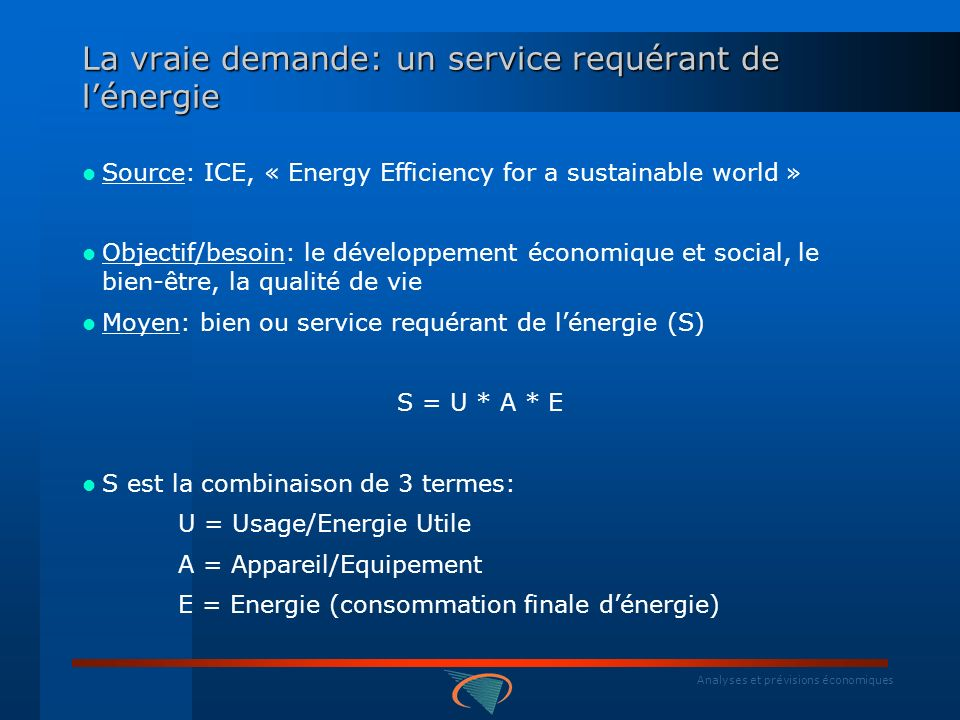 Analyses et prévisions économiques La vraie demande: un service requérant de lénergie Source: ICE, « Energy Efficiency for a sustainable world » Objec