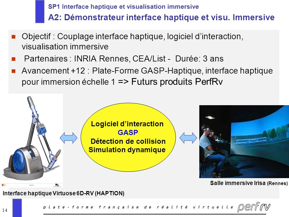 14 SP1 Interface haptique et visualisation immersive A2: Démonstrateur interface haptique et visu.