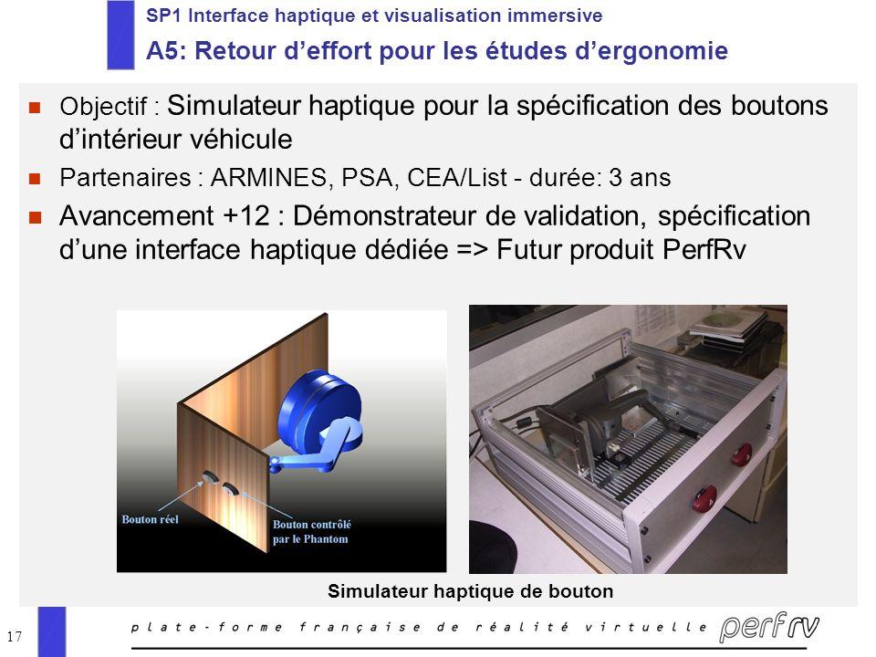 17 SP1 Interface haptique et visualisation immersive A5: Retour deffort pour les études dergonomie n Objectif : Simulateur haptique pour la spécificat