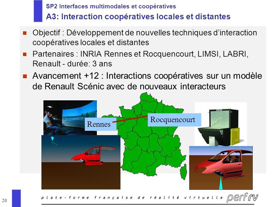 20 SP2 Interfaces multimodales et coopératives A3: Interaction coopératives locales et distantes n Objectif : Développement de nouvelles techniques di