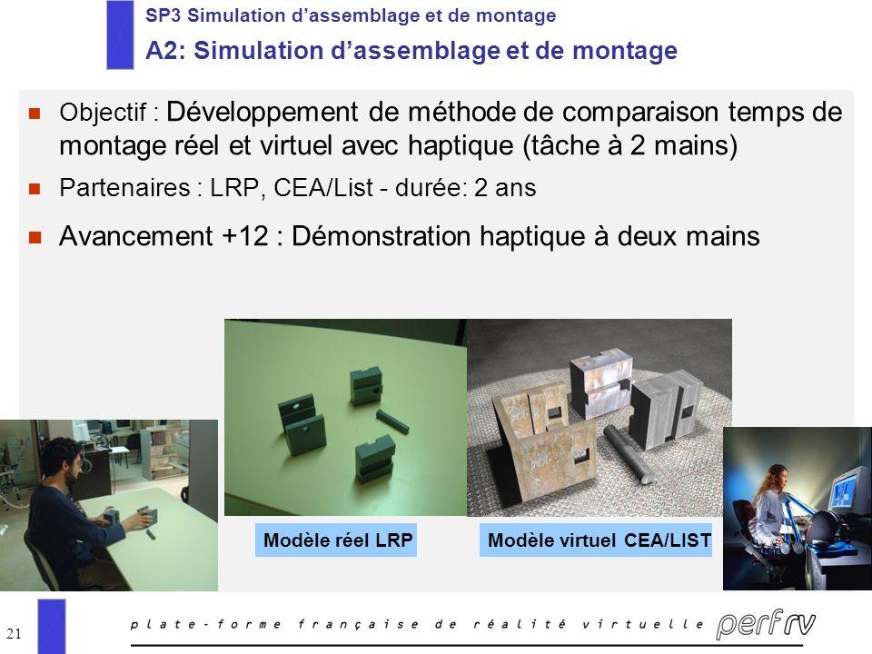 21 SP3 Simulation dassemblage et de montage A2: Simulation dassemblage et de montage n Objectif : Développement de méthode de comparaison temps de mon
