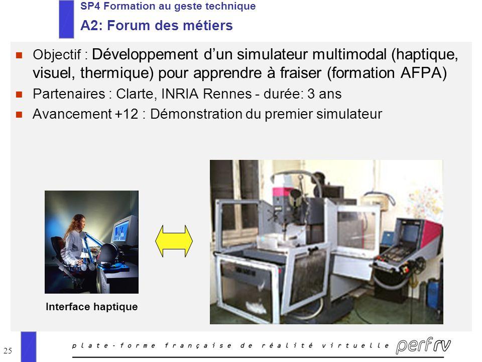 25 SP4 Formation au geste technique A2: Forum des métiers n Objectif : Développement dun simulateur multimodal (haptique, visuel, thermique) pour appr
