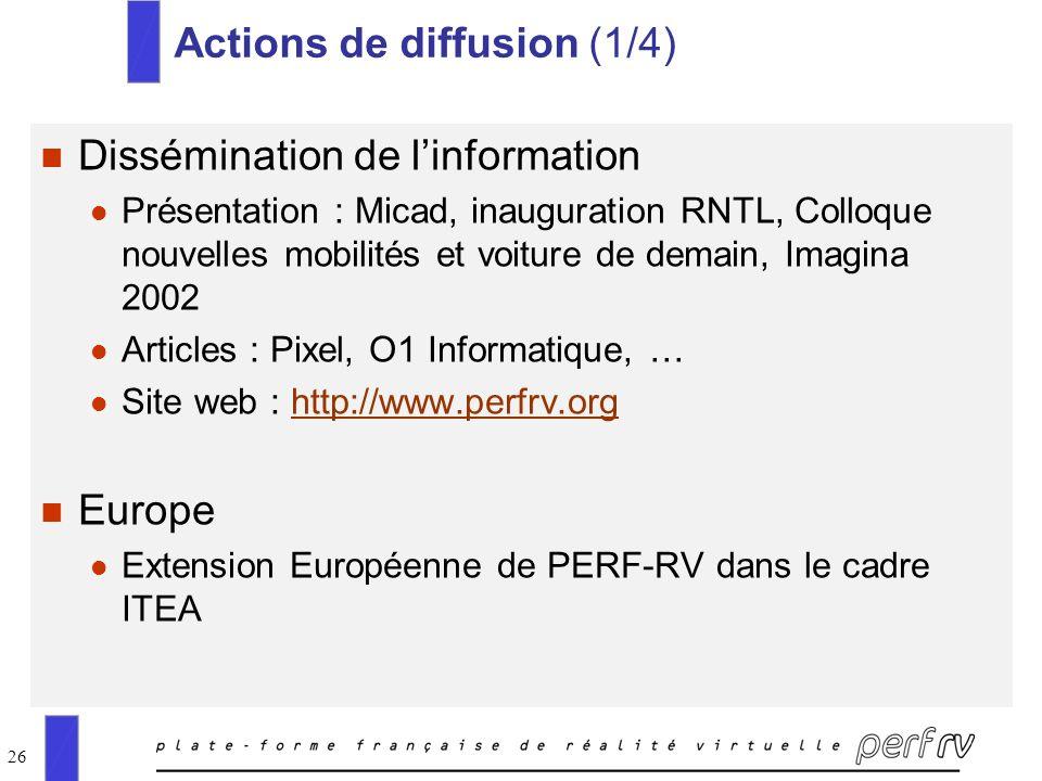 26 Actions de diffusion (1/4) n Dissémination de linformation l Présentation : Micad, inauguration RNTL, Colloque nouvelles mobilités et voiture de de
