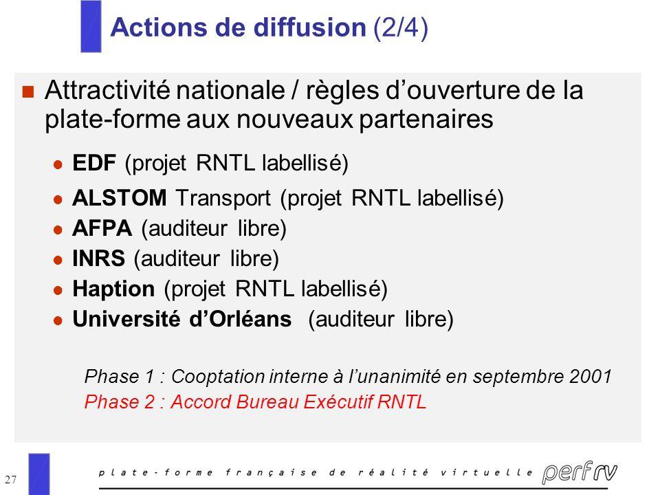 27 Actions de diffusion (2/4) n Attractivité nationale / règles douverture de la plate-forme aux nouveaux partenaires l EDF (projet RNTL labellisé) l