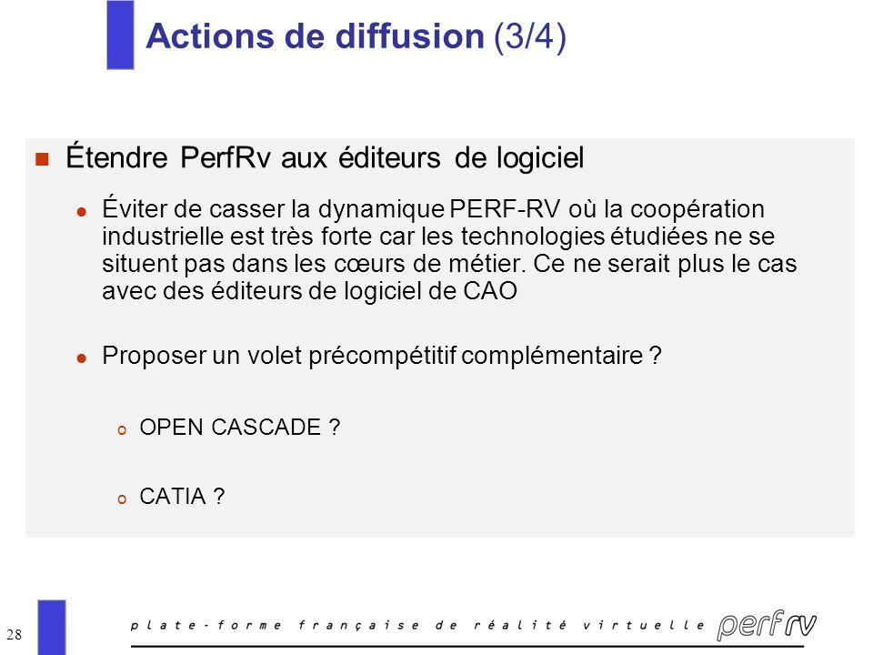 28 Actions de diffusion (3/4) n Étendre PerfRv aux éditeurs de logiciel l Éviter de casser la dynamique PERF-RV où la coopération industrielle est trè